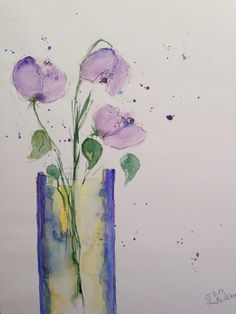 Watercolor flowers 'flowers in the vase30 x 40 cm