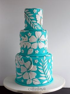 Luau Birthday Party -- Cake -- blue and white hibiscus cake Gorgeous Cakes, Pretty Cakes, Amazing Cakes, Fondant Cakes, Cupcake Cakes, Hawaii Cake, Luau Cakes, Shirt Cake, Fancy Cakes