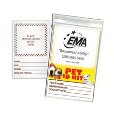 """Pet Identification Kit . Printed on 8 pt. board stock. Includes: area for photo, pet's characteristics area, veterinarian information and medical/vaccine information. Folded size: 3 3/4"""" x 5 5/8"""". Great for veterinary hospitals; humane societies; pet owners; pet stores and more."""