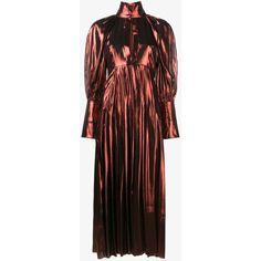 Ellery Ellery Metallic Maxi Dress ($2,785) ❤ liked on Polyvore featuring dresses, brown dress, long slit dress, pleated dress, long-sleeve maxi dresses and maxi dresses