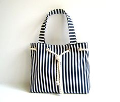 Sailor Tote Bag Navy Blue and White Stripe with Cotton Rope Accessory Christmas Market Tote Stripe Tote Bag White Shoulder Bag Navy Blue Nautical Tote Bags, Striped Tote Bags, Bag Patterns To Sew, Denim Bag, Fabric Bags, Market Bag, Handmade Bags, Purses And Handbags, Bag Making