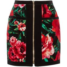 Balmain Floral-print cotton-velvet mini skirt (885 CAD) ❤ liked on Polyvore featuring skirts, mini skirts, bottoms, black, multi colored skirt, floral printed skirt, short mini skirts, mini skirt and short skirts