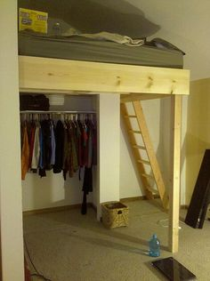 Adult Loft Bed over closet, this is soo cool,  storage and A WORKOUT TO GET IN TO BED! (it'll secretly sneaks exercise into my nite routine) ;)
