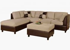 Special Price Discount for Bobkona Hungtinton Microfiber/Faux Leather Sectional Sofa Set, Mushroom - Outdoor Patio Furniture Sofa 3 Piece Sectional Sofa, Sectional Ottoman, Sofa Couch, Buy Sofa, Leather Sectional, Sofa Set, Leather Cushions, Diy Couch, Sleeper Sectional