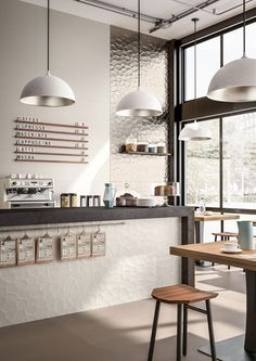 Design/ Interieur Tiles for contract use: design ideas with ceramics and porcelain stoneware - Maraz Coffee Shop Counter, Coffee Shop Bar, Coffee Store, Cofee Shop, Cafe Bar Counter, Cafe Shop Design, Coffee Shop Interior Design, Restaurant Interior Design, Coffee Cafe Interior