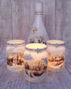 Cheap and Easy Dollar Store Christmas Decorating Ideas – Win.- Cheap and Easy Dollar Store Christmas Decorating Ideas – Winter Scene Lantern Christmas luminaries - Christmas Table Centerpieces, Easy Christmas Decorations, Wine Bottle Crafts, Mason Jar Crafts, Simple Christmas, Christmas Crafts, Cheap Christmas, Christmas Candles, Decoupage Jars
