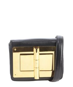 Tom Ford black and gold leather 'Natalia' suede accent large turnlock buckle shoulder bag. Beautiful, quality bag. No way it can ever be copied... hardware just too hard to do that. Now $1912.50. Was $2800. Limited time on bluefly.