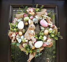 Pretty Burlap Easter Bunny and Eggs Wreath