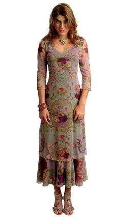 Amazon.com: Stunning Round Neck Special Occasion Elegant Lilac Dress by Michal Negrin Made of Chiffon Lycra with Victorian Large Flower Print and Gold Merrow Edge Finish; 2-Layered Hem: Clothing