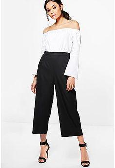 b20d6ef85f boohoo Niamh Bardot Contrast Shirt Tailored Jumpsuit Tailored Jumpsuit