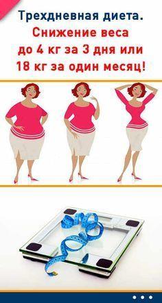 Трехдневная диета. Снижение веса до 4 кг за 3 дня или 18 кг за один месяц!