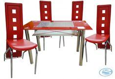 Jídelní sestava Montreal červená 1+4 – FALCO Moderní jídelní souprava skládající se ze 4 židlí a skleněného jídelního stolu. Moderní skleněný stůl s chromovanými nohami:- Rozměry: 120 x 70 x 75 cm/ tl.skla 10 mm- … Dining Sets, Dining Chairs, Montreal, Furniture, Home Decor, Dinner Sets, Decoration Home, Dining Room Furniture, Room Decor