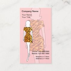 Fashion Business Cards Fashion business cards with chic fashion lady wearing a animal print dress and text layout you can customize on a pink background color you can change. Stylish business card that is distinctive and fresh. Best business cards for themes related to fashion boutique, modeling, beauty, or use this for a hair or nail salon. #FashionDesignersBusiness