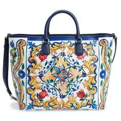 Women s Dolce gabbana  Lara  Mallorca Print Painted Shopper ( 1 9f15b22356