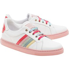RED VALENTINO Cool Rainbow White // Leather sneakers with highlights ($315) ❤ liked on Polyvore featuring shoes, sneakers, flat sneakers, genuine leather shoes, white trainers, leather trainers and white flat sneakers