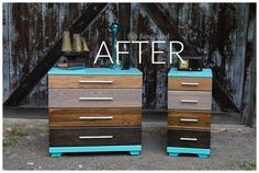 s stop everything these dresser makeovers look ah mazing, painted furniture, After A colorful ombre stained dresser set