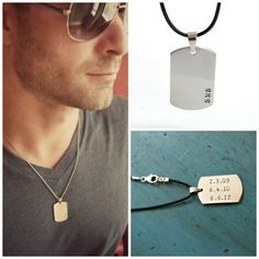 Mens Dog Tag Necklace Mens Jewelry Personalized Mens gift Groomsmen Gift Grooms Gift Dad Fathers Gift on Etsy, $25.00