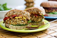 Veggie Burgers...VEGAN! They were good, but I prefer the garbanzo veggie burgers that I make
