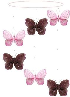 Brown Pink Shimmer Spiral Butterfly Mobile Decorations - butterflies nylon hanging ceiling wall baby nursery room wedding decor decoration decorations girls bedroom party shower $19.95
