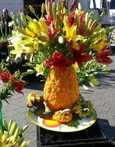 fall flower arrangement on squash!