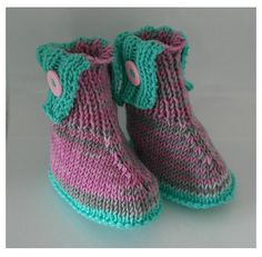 Winter coloured baby boots knitting pattern by DeborahGraceDesigns