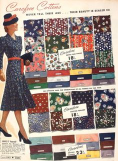vintage fabric patterns (this is probably a page from a Wards or a Sears catalog from the That is the way the fabric was presented. And most big departments stores- (Fields, Carson's etc had a fabric dept. Fashion Moda, 1940s Fashion, Vintage Fashion, Vintage Dress Patterns, Clothing Patterns, Fabric Patterns, 1940s Outfits, Vintage Outfits, Vintage Clothing