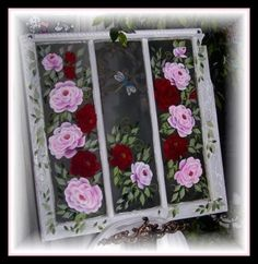 Old Windows Painted, Painted Window Screens, Painted Window Art, Window Paint, Vintage Windows, Hand Painted, Old Window Decor, Old Window Frames, Painted Stepping Stones