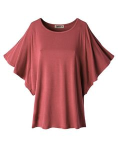 7e9019aa7fd4f Doublju Women Round Neck Shoulder Vent Design Batwing Sleeve Top include plus  size at Amazon Women s Clothing store