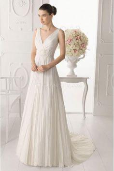Elegant V-neck A-line Tulle Court Train Wedding Dresses