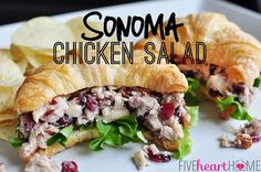 Sonoma Chicken Salad -- juicy chicken, toasted pecans, and dried cranberries coated in a honey-kissed dressing | {Five Heart Home}