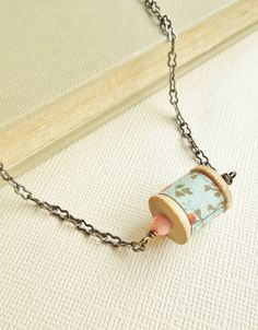 Vintage Wooden Spool Necklace - Vintage Sewing Spool, Cotton, Minty Green with Coral, Shabby Chic, Unique Gift for Her. $28.00, via Etsy.