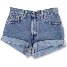 Vintage 90s Levi's Blue Medium Wash High Waisted Rise Cut Offs Cuffed... ($49) ❤ liked on Polyvore featuring shorts, bottoms, denim shorts, short, grey, women's clothing, cut off shorts, denim cutoff shorts, vintage high waisted shorts and denim short shorts