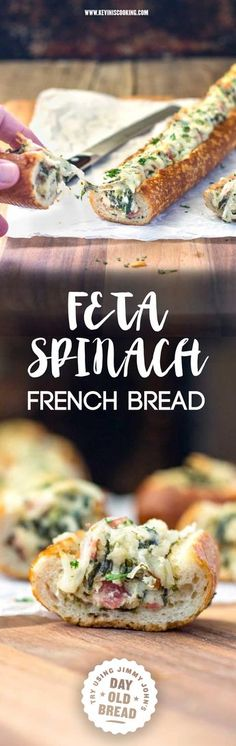"""This easy, cheesy, creamy feta and spinach stuffed french bread is deliriously rich and tasty. Perfect hand held appetizer for parties or the holidays!"" Try making with Jimmy John's Day Old Bread for a yummy treat! #fetacheese #frenchbreadfetacheese"