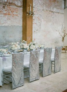 Silver Metallic Wedding Chair Covers for a Winter Wedding 37 Gorgeous Winter Wedding Ideas in Silver Theme Holiday Wedding Inspiration, Wedding Ideas, Wedding Events, Silver Winter Wedding, Rustic Wedding Colors, Wedding Chairs, Wedding Tables, Chair Covers, Seat Covers