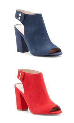 Suede slingback booties with peep toes and block heels   Sole Society Easton
