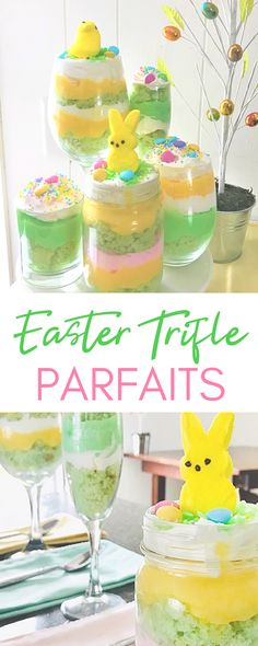 If you are in need of an easy Easter dessert, this trifle parfait is the perfect choice!  With a wide choice of color and flavor combinations, you can create a no-fail spring dessert that quick fix for you and a mouthwatering treat for your guests! #easyeasterdesserts #easterdessert #easter #spring #springdessert #trifle #parfait