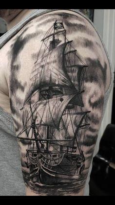 Dope Tattoos, Great Tattoos, Body Art Tattoos, Tattoos For Guys, Pirate Ship Tattoos, Pirate Tattoo, Ship Tattoo Sleeves, Sleeve Tattoos, Karten Tattoos