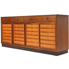 Edward Wormley; Walnut, Pine and Bronze 'Janus' Cabinet for Dunbar, 1950s.