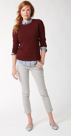 Perfect for fall.  A deep burgundy cable sweater.