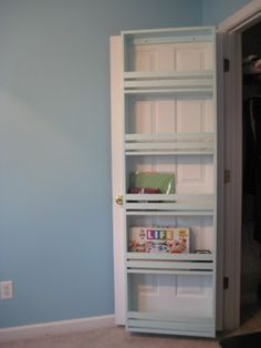 shelving for a closet door!  Using dead space.- kids rooms