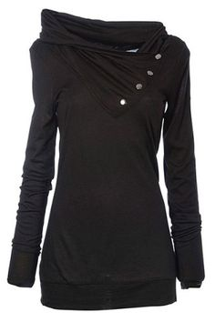 Casual Cowl Neck Solid Color Long Sleeve Sweatshirt For Women
