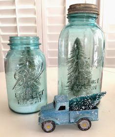 Jedi Craft Girl: Blue Jars, Bottle Brush Trees & Old Cars