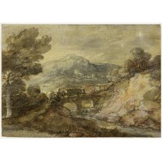 Thomas Gainsborough - Landscape with Cattle Crossing a Bridge : The Frick CollectionThomas Gainsborough  (1727 - 1788)   1785 oil over black chalk with white chalk highlights on white laid paper