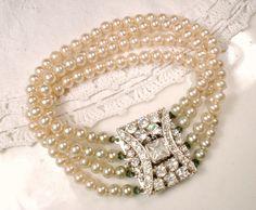 1920s Pearl Bracelet, Champagne Ivory Glass Pearl Rhinestone Multi Strand Art Deco Ornate Clasp Antique Gatsby Downton Abbey Flapper Jewelry by AmoreTreasure