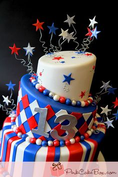 Red, White and Blue Stripes, Stars & Harlequin Fourth of July Birthday Topsy Turvy Cake