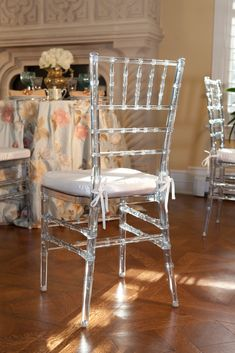 "Vision Furniture's Clear Chiavari March 7, 2012. 294  ""The virgin resin used in our Clear Chiavari Chair is perfectly clear without any off-color imperfections such as tinges of blue or green. Also, our chair has been product tested to be more durable and more reliable than our competitor's chairs in chair back durability tests. This test measures how many times someone can lean back in the chair before the joints or the chair back is compromised."""