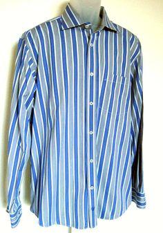 24a10657 Bugatchi Mens Shirt Size XL Cotton Blue Black White Stripe L/S  #BugatchiUomo Black