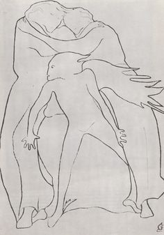 "Romaine Brook's haunting ""automatic"" line drawings, some of the last works that she ever produced. In 1930, while recuperating with a sprained leg, she began this series of drawings of humans, angels, demons, animals, and monsters, all formed out of continuous curved lines (a method she had perhaps borrowed from Cocteau). She said that when she started a line she didn't know where it would go, and that the drawings ""evolved from the subconscious without premeditation."""