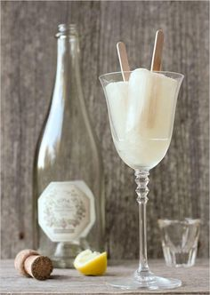 Champagne and Popsicle cocktail for a hot summer wedding day.