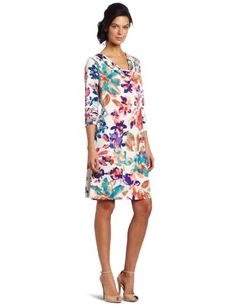 Adore this Calvin Klein Printed Dress  w/ Nude Pumps